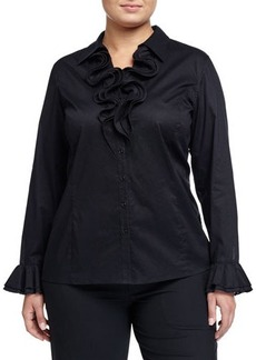 Go Silk Plus Long-Sleeve Ruffle Blouse