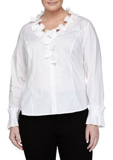 Go Silk Plus Pleated-Ruffle Poplin Blouse