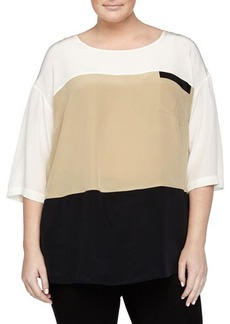 Go Silk Plus Short-Sleeve Colorblock Silk Blouse