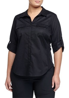 Go Silk Plus Tabbed-Sleeve Button-Front Blouse