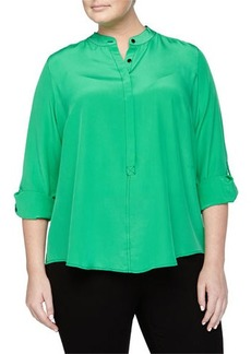 Go Silk Plus Tonal-Stitched Silk Half-Button Blouse