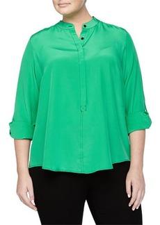 Go Silk Plus Tonal-Stitched Silk Half-Button Blouse