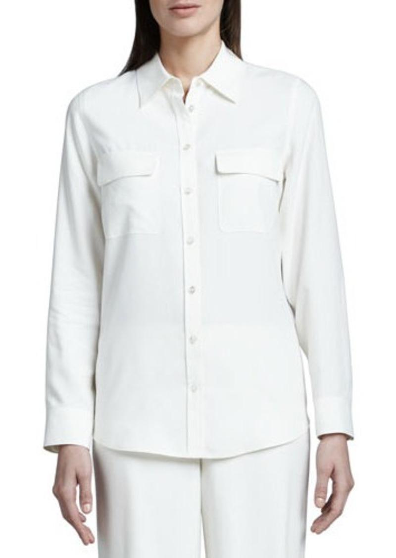 Go silk go silk safari long sleeve silk shirt petite for Silk long sleeve shirt