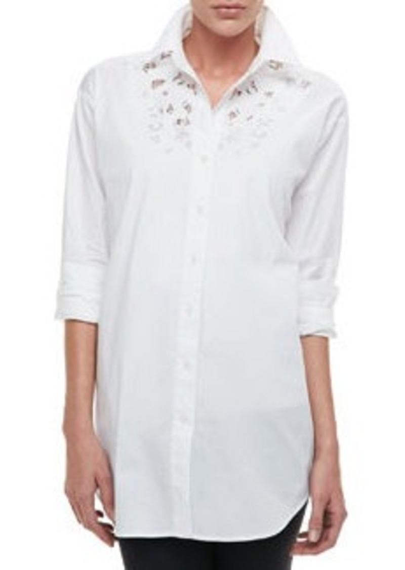 Go Silk Silk Big Shirt with Lace, Petite