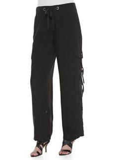 Go Silk Silk Cargo Pants, Black, Petite