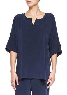 Go Silk Silk Dolman-Sleeve Tunic, Navy, Women's