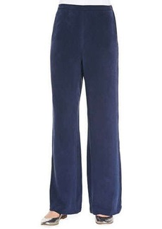 Go Silk Silk Full-Leg Pants, Navy, Petite