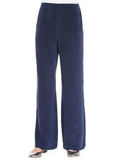 Go Silk Silk Full-Leg Pants, Navy, Petite
