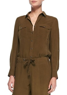 Go Silk Silk Safari Shirt, Petite