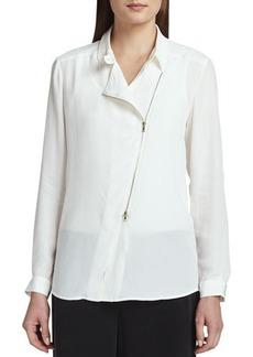 Go Silk Silk Zip-Front Moto Jacket