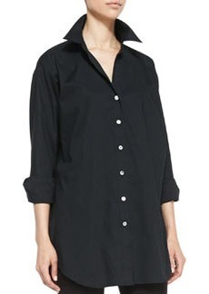 Go Silk Solid Big Long-Sleeve Shirt, Petite