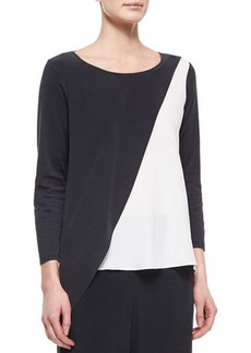 Go Silk Spliced Asymmetric Silk Tunic, Women's