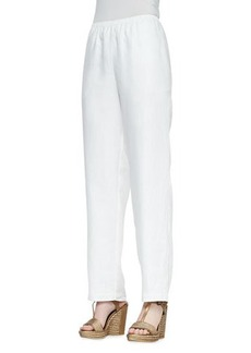 Go Silk Straight-Leg Lined Linen Pants, White, Petite