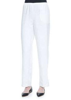 Go Silk Straight-Leg Lined Linen Pants, White, Petite