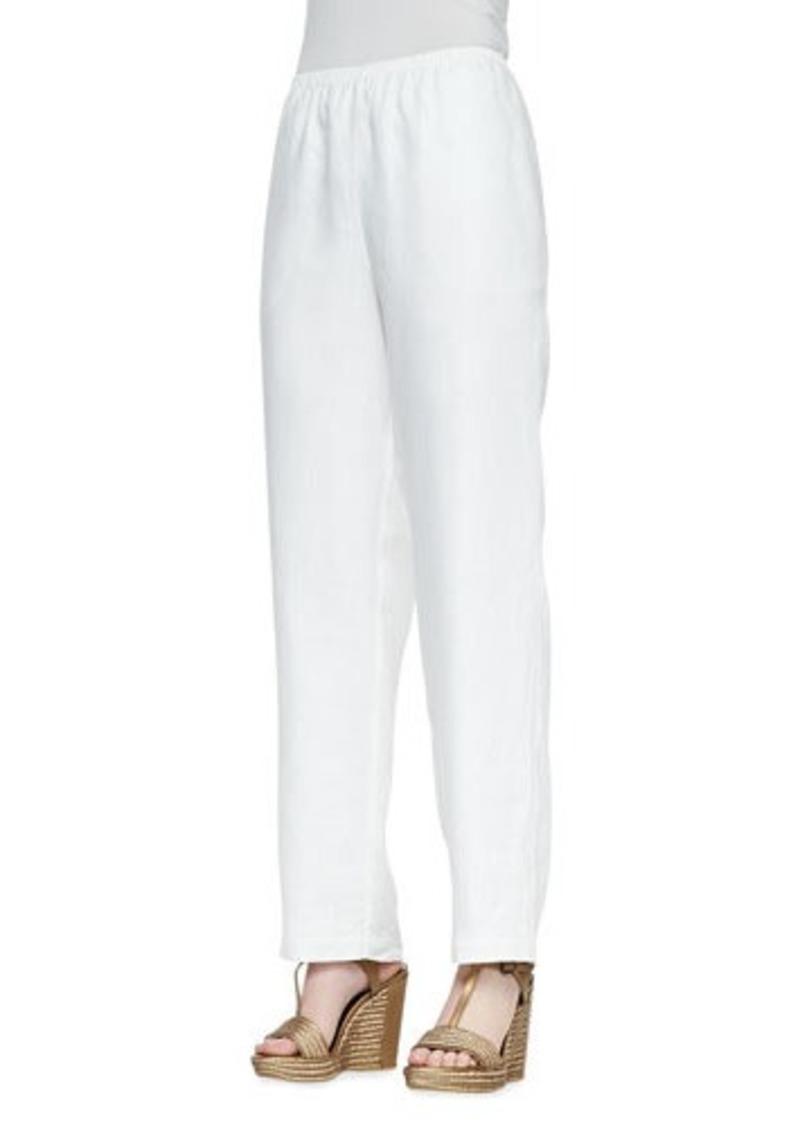 Go Silk Straight-Leg Linen Pants, Black, Petite