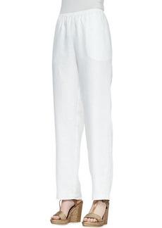 Go Silk Straight-Leg Linen Pants, Petite