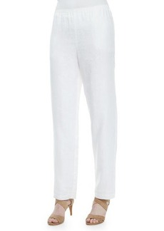 Go Silk Straight-Leg Linen Pants, White