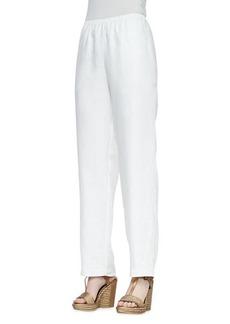 Go Silk Straight-Leg Linen Pants, White, Petite