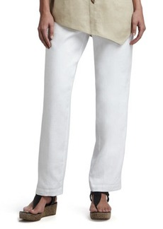 Go Silk Straight-Leg Linen Pants, White, Women's