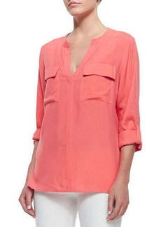 Go Silk Two-Pocket Silk Tunic, Petite