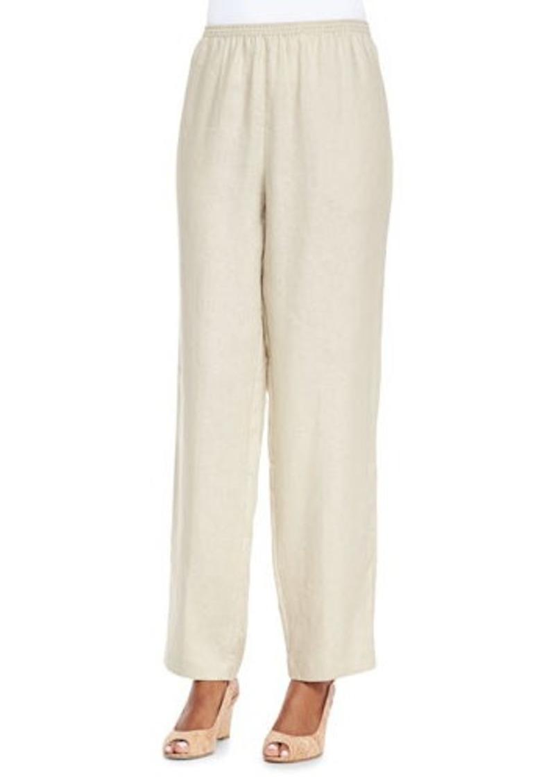 Go Silk Unlined Straight-Leg Linen Pants, Petite