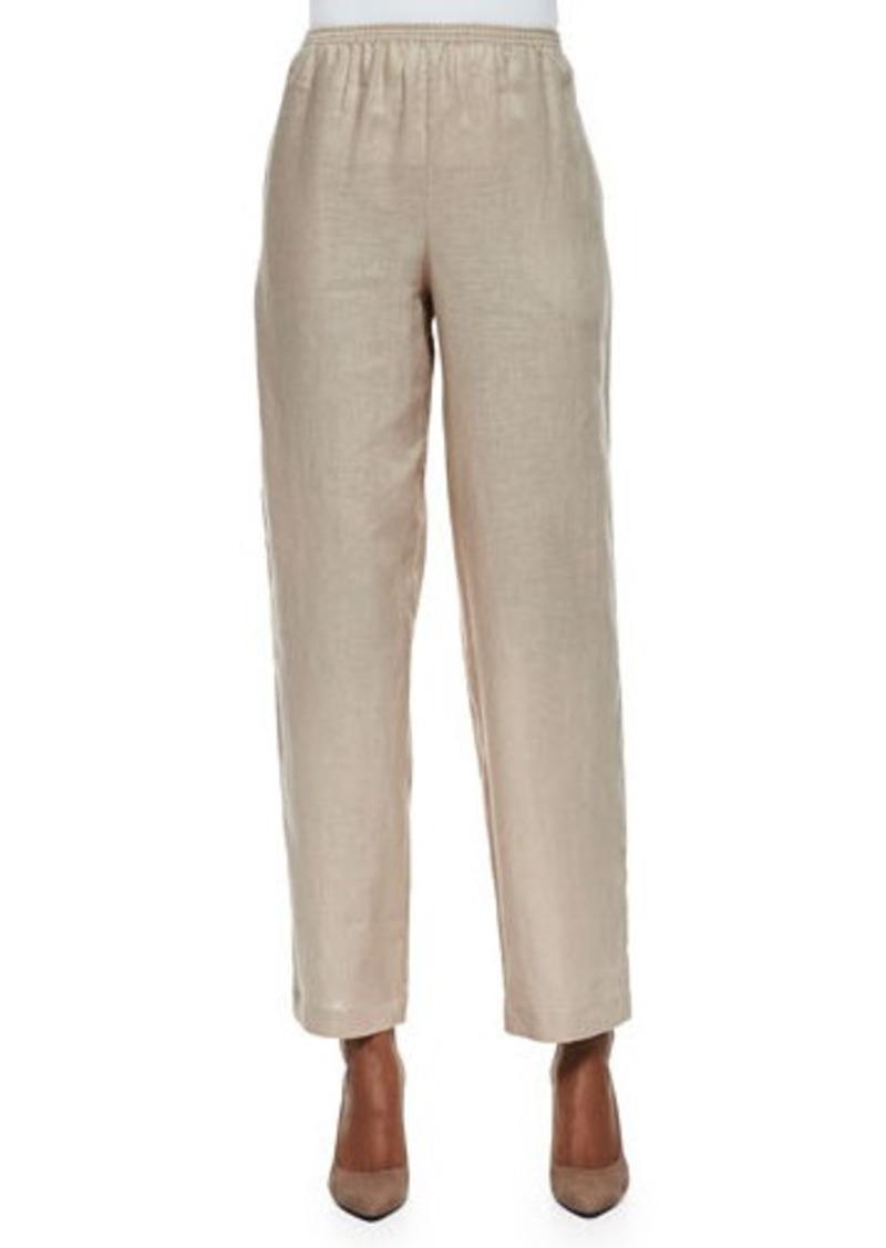 Go Silk Unlined Straight-Leg Linen Pants, Sesame