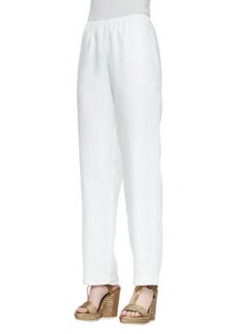 Go Silk White Straight-Leg Linen Pants, Women's
