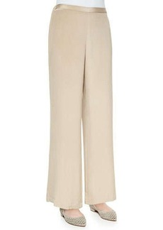 Go Silk Wide-Leg Silk Crepe Pants, Women's