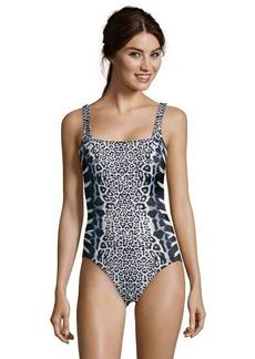 Gottex black and white animal print stretch 'Savannah' tank one piece