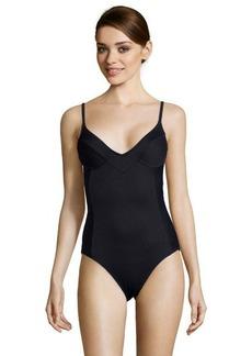 Gottex black linear 'Nouvelle' v-neck one-piece swimsuit