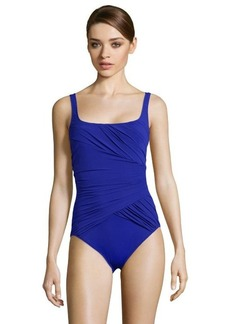 Gottex blue pleated 'Beach Goddess' square neck swimsuit