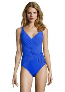 Gottex indigo 'Lattice' ruched v-neck swimsuit