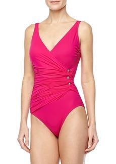 Gottex Le Ribot Gathered One-Piece Swimsuit, Fuchsia