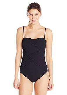 Gottex Women's Lattice Solid Bandeau One Piece Swimsuit