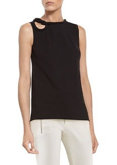 Black Stretch Viscose Top with Knot Detail   Black Stretch Viscose Top with Knot Detail