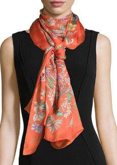 Bloole Silk Scarf/Stole, Orange/Brown   Bloole Silk Scarf/Stole, Orange/Brown