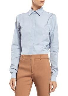 Blue Cotton Poplin Straight Shirt   Blue Cotton Poplin Straight Shirt