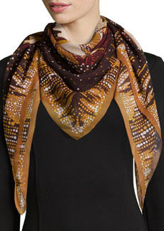 Daydream Foulard Silk Scarf, Brown/Beige   Daydream Foulard Silk Scarf, Brown/Beige