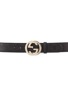 G-Adjustable Logo Leather Belt, Black   G-Adjustable Logo Leather Belt, Black