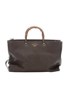 Gucci ash brown leather bamboo handle convertible tote