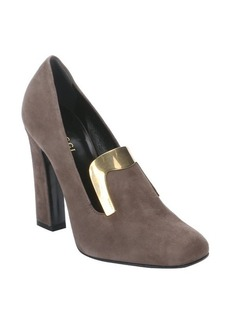 Gucci ash brown suede plate detail heeled loafers