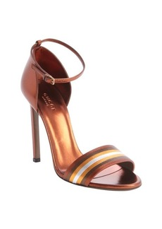 Gucci auburn metallic leather striped accent sandals