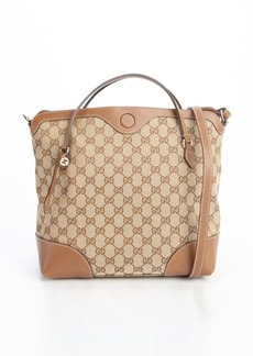 Gucci beige and brown GG coated canvas 'Bree' top handle bag