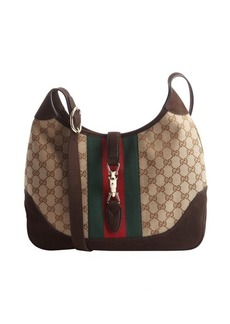 Gucci beige GG canvas and brown leather 'Jackie' shoulder bag