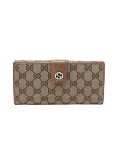 Gucci beige leather trim GG canvas continental wallet