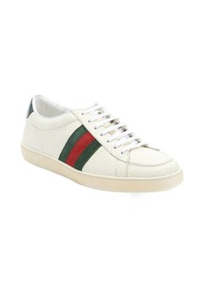 Gucci beige leather web stripe detail sneakers