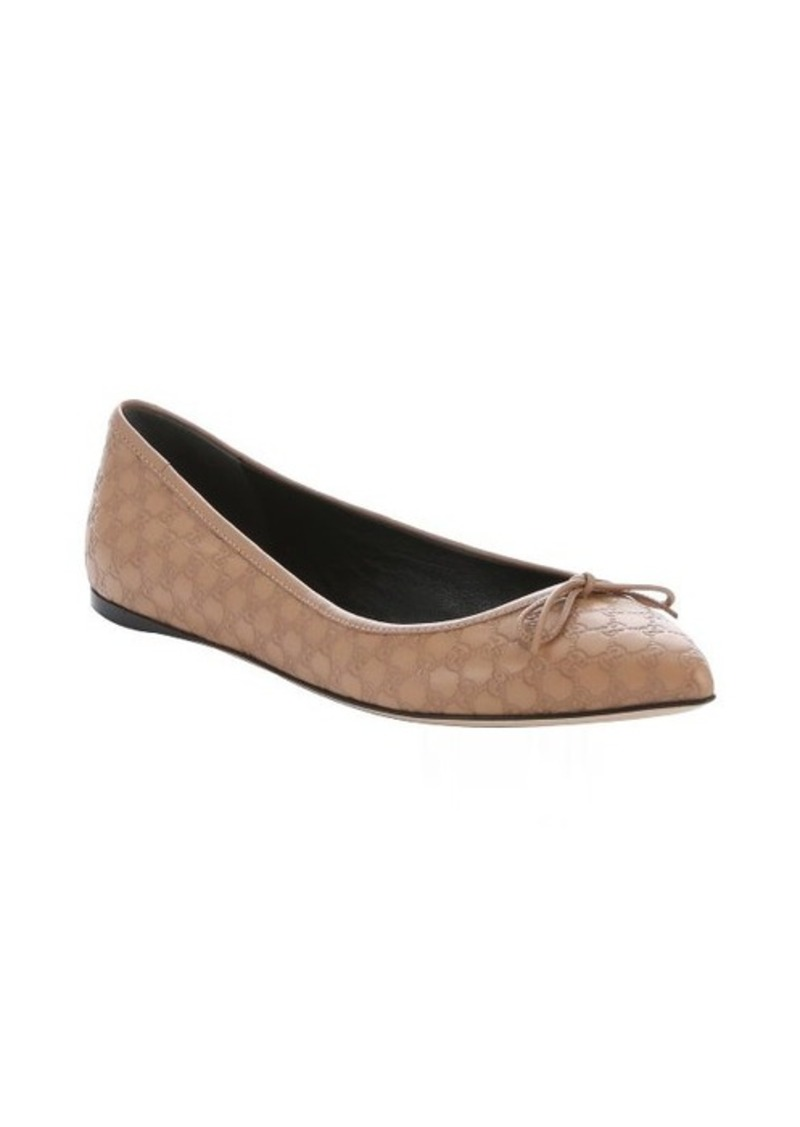 gucci gucci beige microguccissima embossed bow detail ballerina flats shoes shop it to me. Black Bedroom Furniture Sets. Home Design Ideas