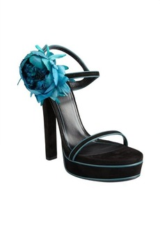 Gucci black and aqua suede flower platform sandals