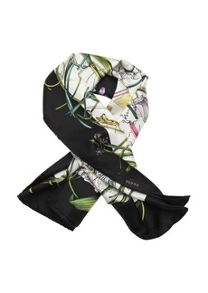 Gucci black and green 'Flora Infinity' printed silk scarf