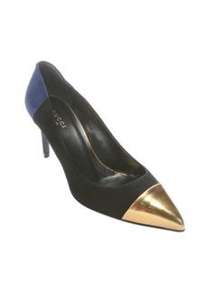 Gucci black colorblock suede metallic cap toe pumps